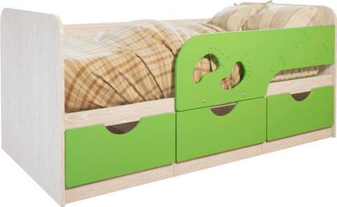 Кровать Минима Лего 1,86 дуб атланта/лайм глянец