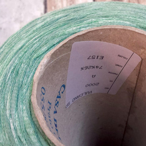 Хлопковый шнурок CASA DEL FILATO / VULCANO 200 мятный неоднородный