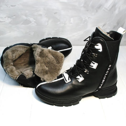Женские зимние ботинки ботильоны кожаные. Зимние ботинки на шнуровке Ripka Black-White