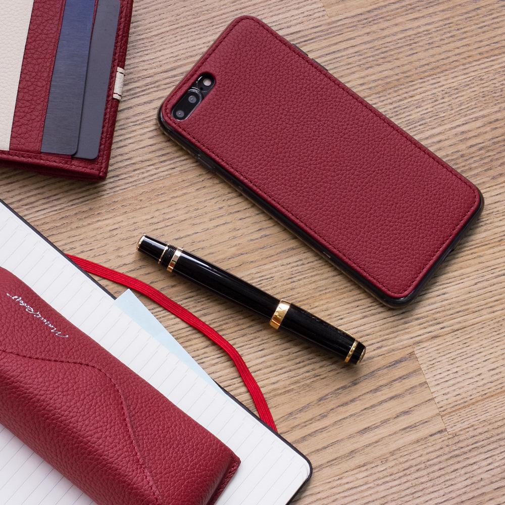 Чехол-накладка для iPhone 8 Plus из натуральной кожи теленка, вишневого цвета