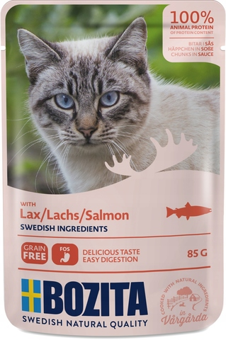 Bozita Pouch Salmon in sauce Консервы для взрослых кошек с лососем, кусочки в соусе (Пауч)