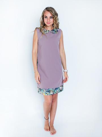 Платье с воротником (цвет - лавандовый + зеленый)