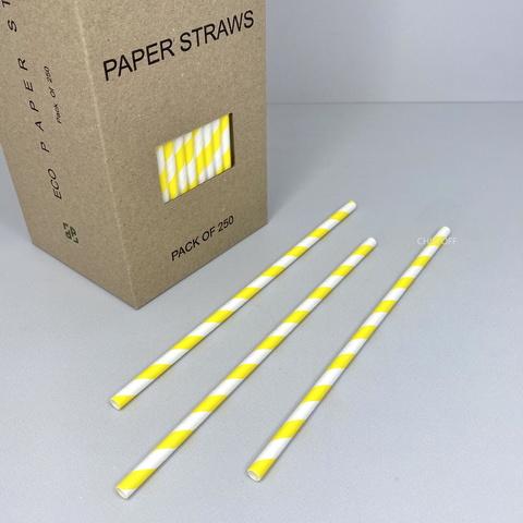 Трубочки бумажные (250 шт.) белые с желтыми полосками