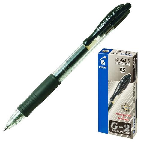 Ручка гелевая автоматическая Pilot BL-G2-5 черная (толщина линии 0.3 мм)