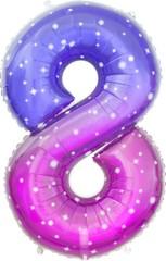 К Цифра 8 Сияющий космос, Сиреневый, Градиент, 34