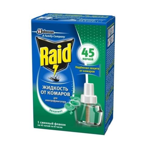 Средство от насекомых Raid Жид-ть от комаров для фумиг на 45 ноч эвкалипт