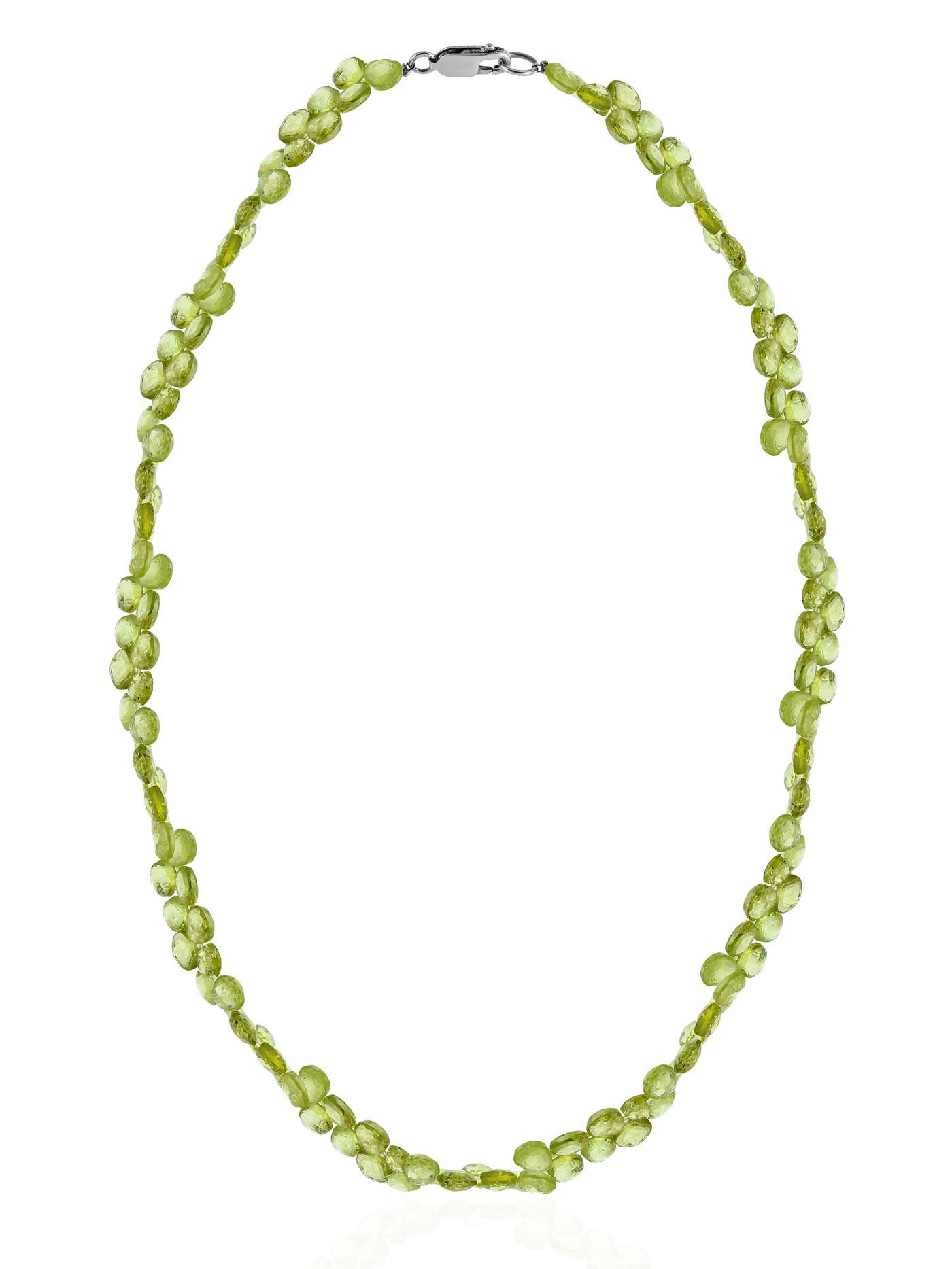 Колье из природного оливина (хризолита, перидота)