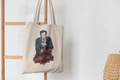 Сумка-шоппер с принтом Криминальное чтиво, Квентин Тарантино (Pulp Fiction) бежевая 001