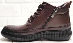Женские весенние ботинки кеды с молнией Evromoda 535-2010 S.A. Dark Brown.