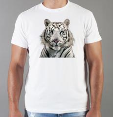 Футболка с принтом Тигр (Tiger) белая 0023