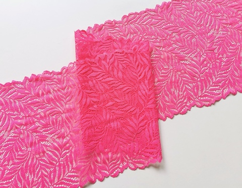 Эластичное кружево (листочки), розовое, 23см (Артикул: EK-2115), м
