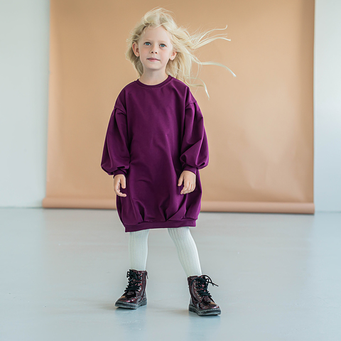 Loose-fitting dress - Plum
