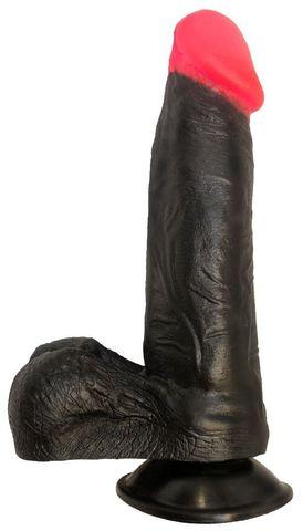 Чёрный фаллоимитатор с красной головкой - 18,5 см.