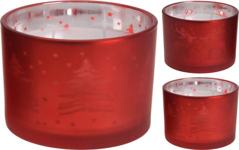 Свеча в стакане красном с рисунком в асс. 8.5х11.5см