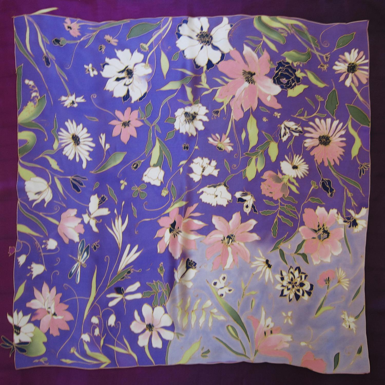 Платок Летние цветы сирень С-61