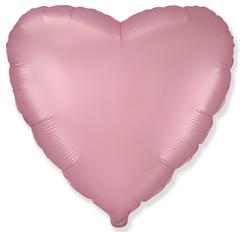 Шар сердце сатин розовый