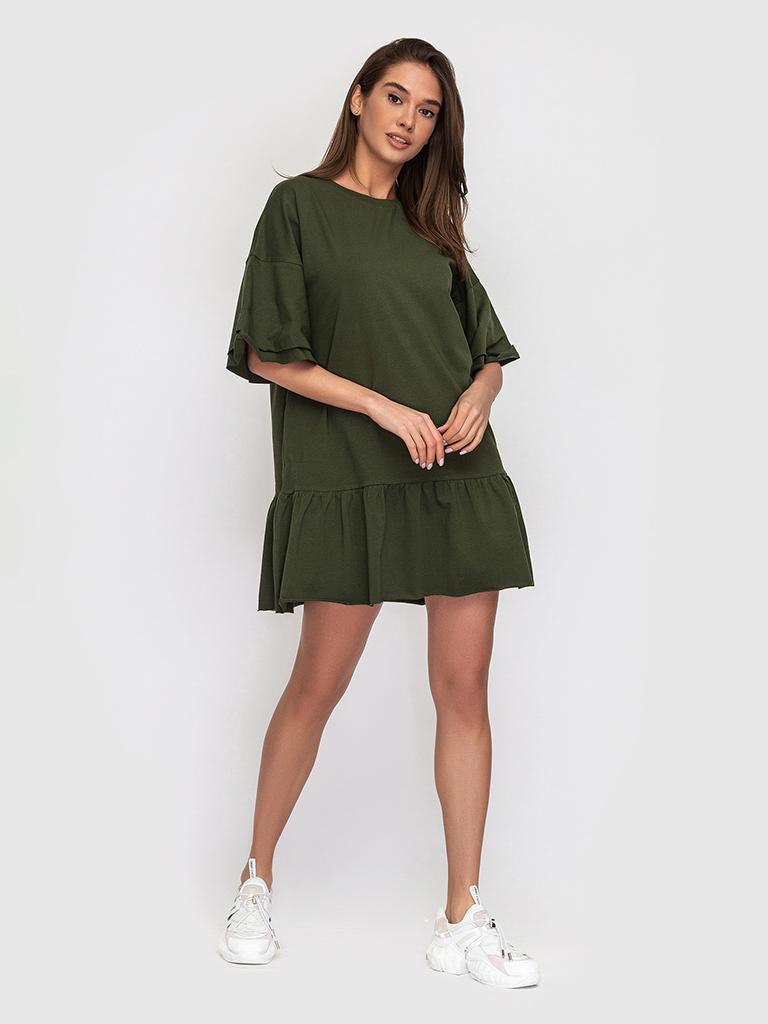 Платье-футболка хлопковое с воланами оливкового цвета