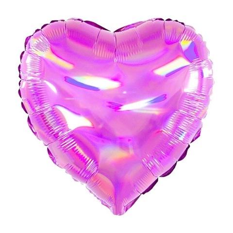 Воздушный шар сердце розовое перламутровое, 45 см