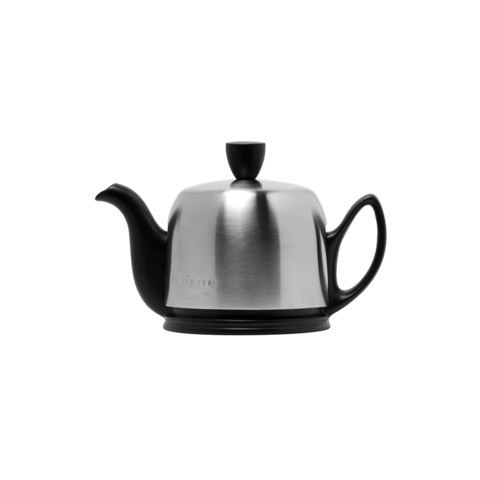 Фарфоровый заварочный чайник на 2 чашки с крышкой, черный, артикул 211991