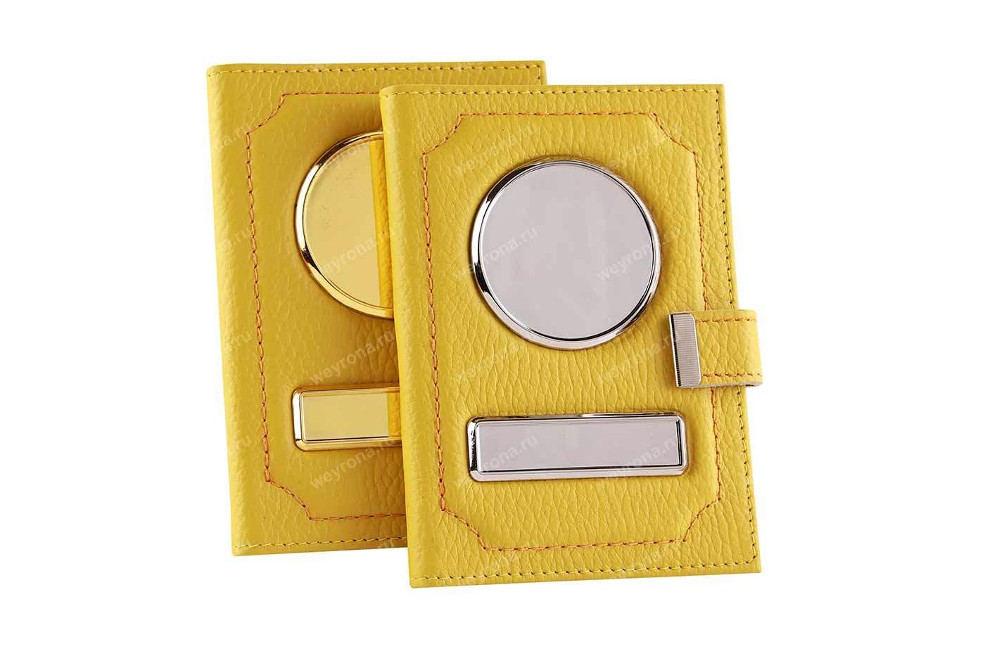 Обложка гос номер с заклепкой 2 в 1 флотер желтая