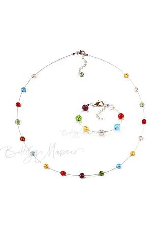 Комплект Estate серебристый (ожерелье длинное, браслет)