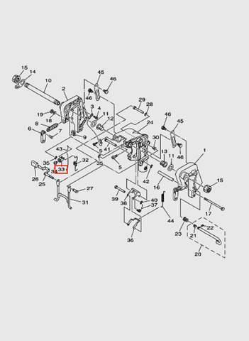 Рычаг наклона  для лодочного мотора T15, OTH 9,9 SEA-PRO (13-33)