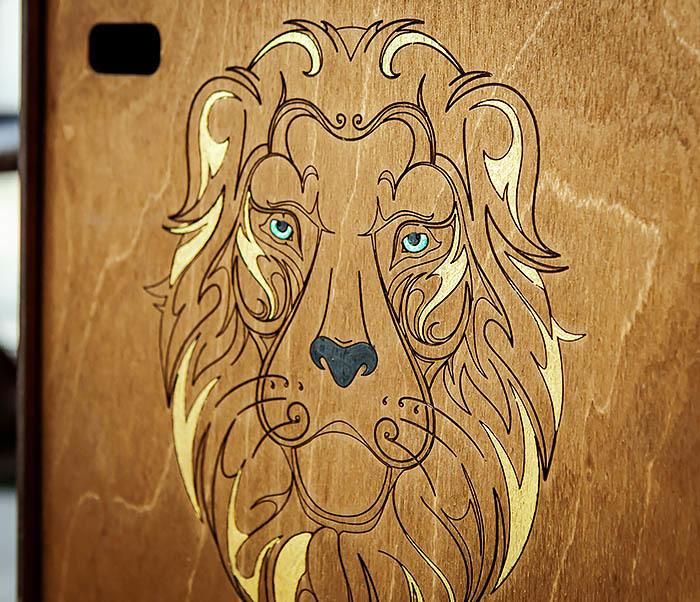 BOX252-2 Большая подарочная коробка ручной работы со львом (25*25*12 см) фото 03