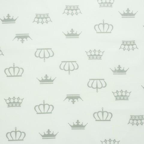 Ткань хлопковая серые короны на белом, отрез 50*80 см