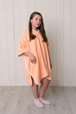Детский халат пончо (Персик)