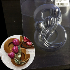 Пластиковая форма для шоколада жен. ВОСЬМЕРКА С ТЮЛЬПАНАМИ 90х75мм