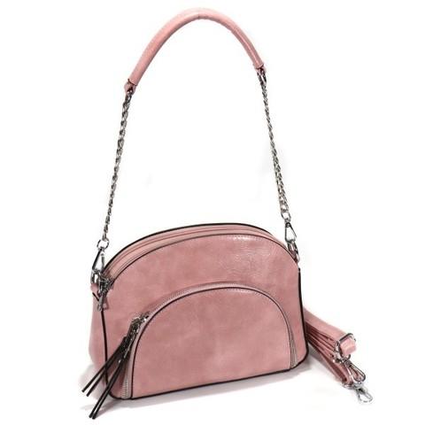 Розовая сумка овальной формы с внешним карманом на цепочке