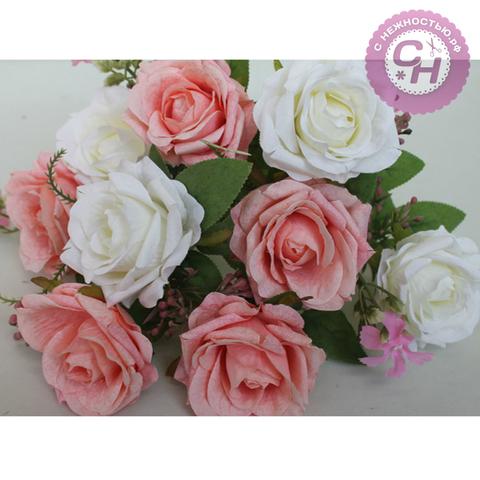 Розы искусственные евро двухцветные, букет 9 цветков, 41 см.