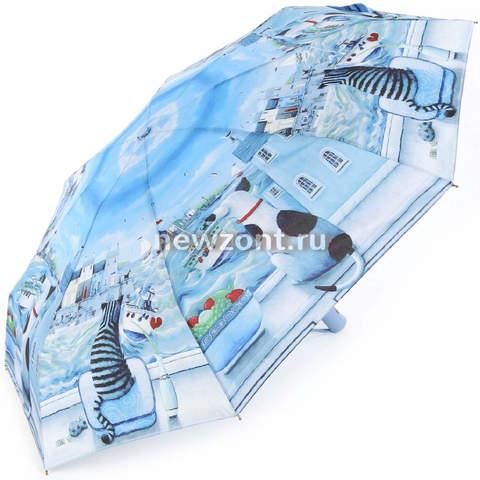 Компактный зонт автомат Lamberti кот и собака в голубой бухте