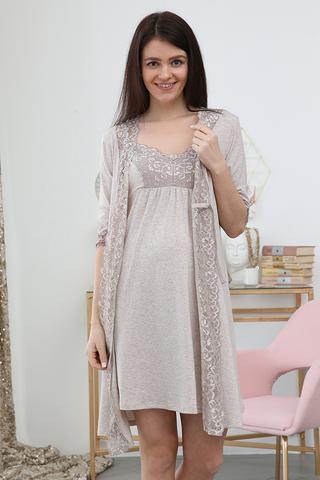 Комплект для беременных и кормящих с халатом и сорочкой 12729 бежевый