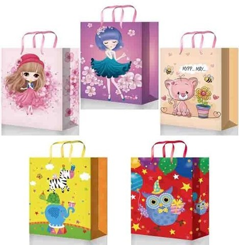Подарочные пакеты бумажные 32х45х10 ламинированный (Детский праздник)