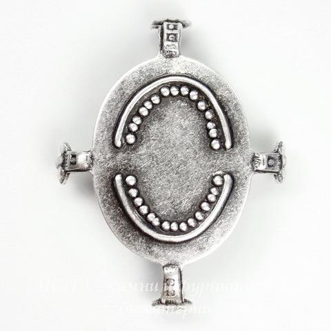 """Сеттинг - основа """"Черепашка"""" для камеи или кабошона 25х18 мм (оксид серебра)"""