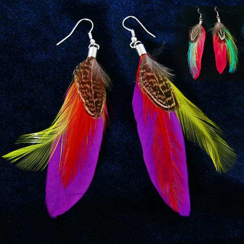 Серьги Разноцветные перья