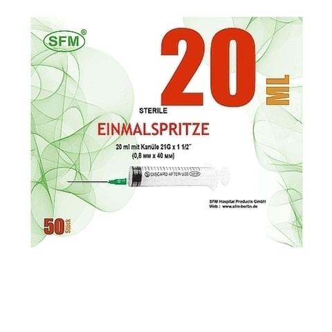 Шприц 20 мл. (3-комп.) SFM одноразовый стерильный с иглой 0,80 х 40 - 21G
