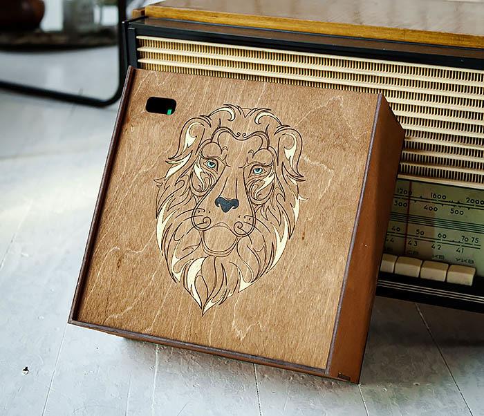 BOX252-2 Большая подарочная коробка ручной работы со львом (25*25*12 см) фото 04