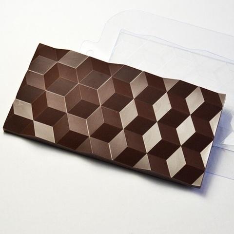 Пластиковая форма для шоколада ср. ПЛИТКА КУБИКИ (170х85мм)