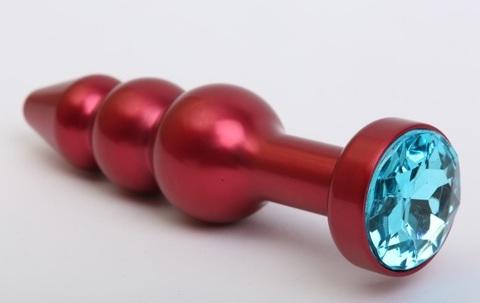Пробка металл фигурная елочка красная с голубым стразом 11,2х2,9см 47431-1MM