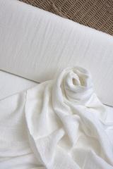 Лён смягченный, креп, цвет - белый