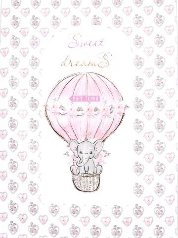 Панель(купон) слоник на розовом воздушном шаре(гнездо)-72*103 см