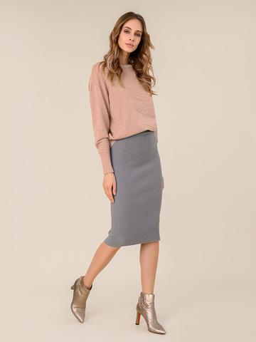 Женская юбка серого цвета из шерсти - фото 2
