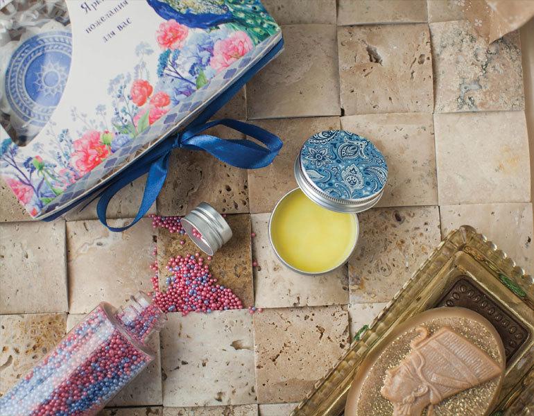 Этиклейка на упаковку для мыла Пейсли Голубой