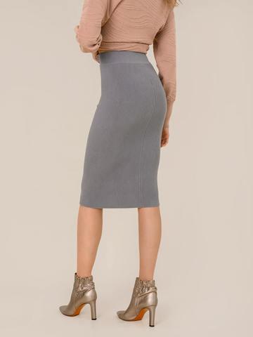 Женская юбка серого цвета из шерсти - фото 3