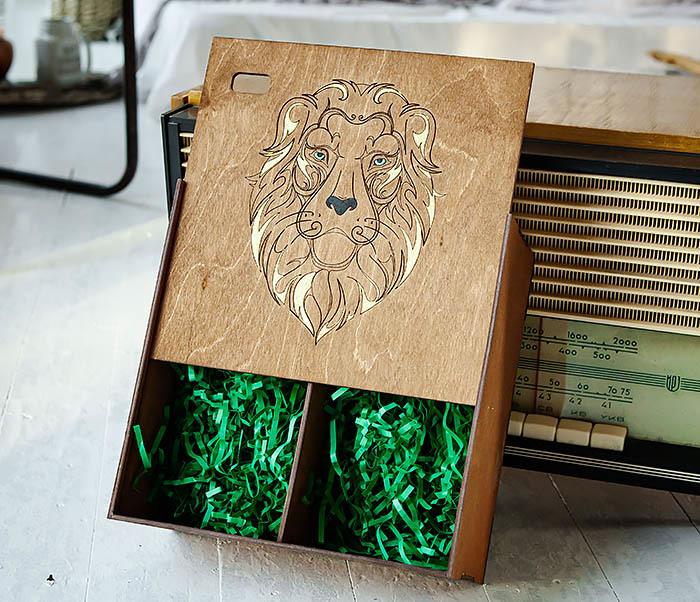 BOX252-2 Большая подарочная коробка ручной работы со львом (25*25*12 см) фото 06