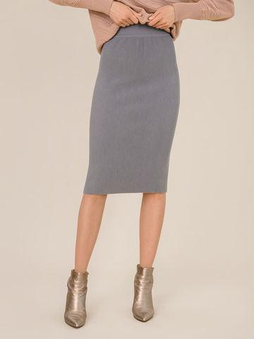 Женская юбка серого цвета из шерсти - фото 4