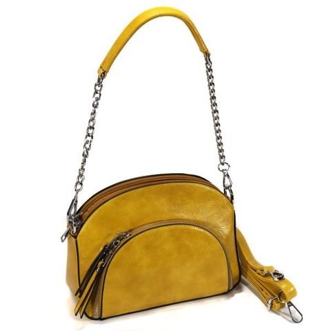Горчичная сумка овальной формы с внешним карманом на цепочке
