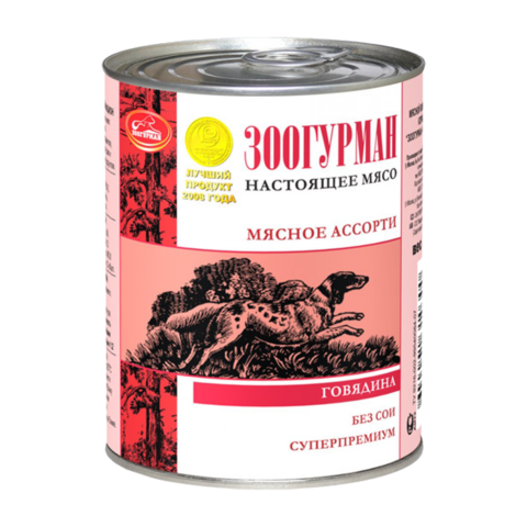 Зоогурман Мясное ассорти Консервы для собак с говядиной (Банка)